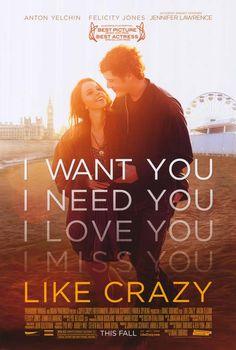 Like Crazy / Película romántica y dramática, un poco adolescente para mi gusto (con bastante histeria). Las actuaciones y dirección estaban ok, pero me aburrió un poco / 5 Patos