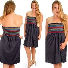 NEW LOOK FOR PLUS SIZE. Spring and summer is our favorite seasons of the year and we can't wait to wear this cute denim and multi color strapless dress. It doubles as a cute dress to go out in with your friends or even a trendy cover up when you hit the b