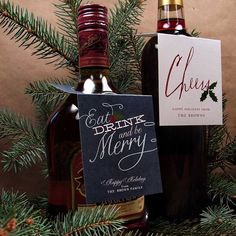 Printable wine bottle tags #holiday #christmas #diy #printable