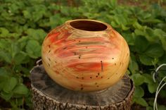 Red or Flame Box Elder Bowl or hollowform hand made by santaeric, $75.00