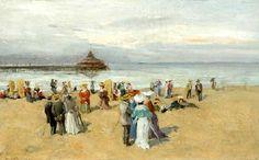 Fransiscus Willem ('Franz') Helfferich (1871-1941) Flaneren op het strand van Scheveningen, 1909. Op de achtergrond het Wandelhoofd. (Coll. Venduehuis, Den Haag)