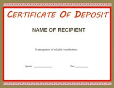 A certificate of deposit template is a financial document issued by a bank to a person that indicates the investor has deposited a sum of money for specified Templates Printable Free, Cv Template, Word Templates, Certificate Of Deposit, Certificate Templates, Wine Pull, Family Worksheet, Word Families, Job Search