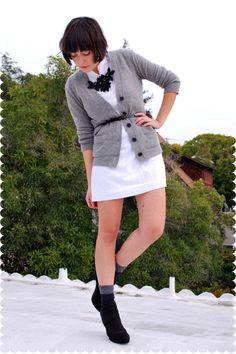 Gray-jcrew-cardigan-white-dress-black-glitzer-on-etsy-necklace-black-urban