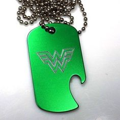 "Wonder Woman New Pendant With 30"" Chain Dog Tag Aluminum Bottle Opener EDG-0126"