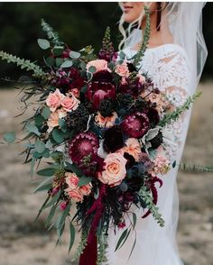 fall dark purple and coral wedding bouquet Forget the bouquet toss! You won't want to let go of these these beautiful fall wedding bouquets, let alone chuck one across the reception hall. Fall Wedding Bouquets, Fall Wedding Flowers, Floral Wedding, Wedding Colors, Cascading Bridal Bouquets, Fall Wedding Purple, Fall Flowers, Bridal Bouquet Fall, Wedding Bouquet Pearls