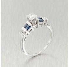 Estate 14kt. White Gold Diamond Sapphire Engagement Ring