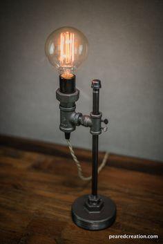Items similar to Minimalist Lamp - Industrial Desk Lamp - Edison Bulb Light - Steampunk on Etsy Vintage Industrial Furniture, Industrial Desk, Industrial Lighting, Industrial Closet, Industrial Restaurant, Industrial Apartment, Industrial Bedroom, Industrial Farmhouse, Cool Lamps