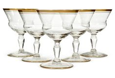 1930s Double Gilt Banded Coupes, S/5