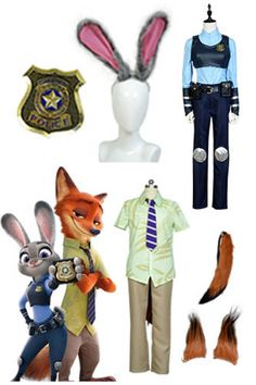 Zootopia Rabbit Judy + Fox Nick Cosplay Costume_7