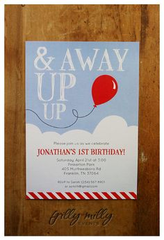 PRINTABLE INVITATION DESIGN - Up, Up & Away collection by Frilly Milly. $15.00, via Etsy.