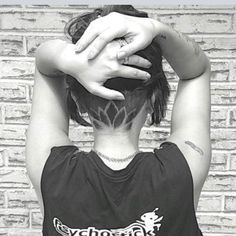 Lotus Undercut Design - love these secret hair cuts! Shaved Hair Designs, Hair Tattoos, Undercut Hairstyles, Updo Hairstyle, Great Hair, Hair Dos, Bun Hair, Dyed Hair, Hair Inspiration