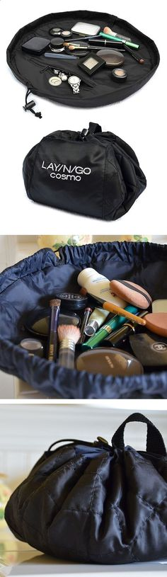 2932969944561071463241 Lay N Go Cosmo Bag // perfect cosmetics travel bag   Lays flat for access then simply pull the drawstring to close. Brilliant! #product design
