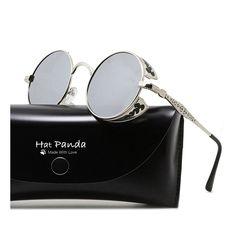 78589f115e Iambcoolin.com  Round Polarized Steampunk Sunglasses Retro John Lennon  Sunglasses For Men And Women (B Silver   Mirrored Silver