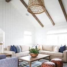 """68 Likes, 2 Comments - kelly nutt design (@kellynuttdesign) on Instagram: """"Perfect spot for a movie night #reclaimedbeams #naturallight #beachhome #cdm @legacycdm…"""""""