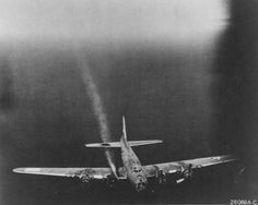 Boeing B-17F of the 95th Bomb Group with damage to the No. 3 engine. (U.S. Air Force photo)