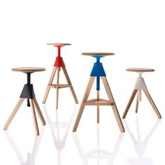 Acheter en ligne Tom and jerry – the wild bunch By magis, tabouret en hêtre réglable en hauteur design Konstantin Grcic, Collection the wild bunch Adjustable Bar Stools, Swivel Bar Stools, Bar Chairs, Dining Chairs, Dining Room, Workshop Stool, Tom Et Jerry, Jerry Jerry, The Wild Bunch
