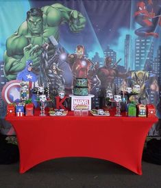 Dessert table at a Marvel comics birthday party! See more party ideas at CatchMyParty.com!
