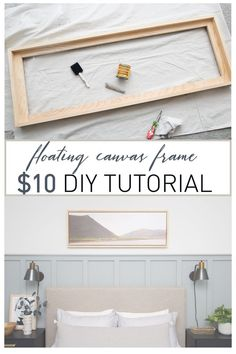New Wood Frame Picture Canvases Diy Canvas 44 Ideas Floating Canvas Frame, Diy Canvas Frame, Frame A Canvas Painting, Framed Canvas, Canvas Decor Diy, Framing Canvas Art, Frames For Canvas Paintings, Wood Canvas, Diy Wood Projects