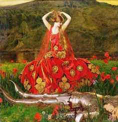 """""""La Belle Dame Sans Merci"""", 1926 ~ by Frank Cadogan Cowper -- ater Keat's poem """"The Beautiful Lady without Mercy"""" which tells of a beautiful femme fatale, a faerie woman, . text changed to be 500 chars, go to original for the whole story Frank Dicksee, John William Waterhouse, Charles Edward, Pre Raphaelite Paintings, Carl Friedrich, Pre Raphaelite Brotherhood, John Everett Millais, William Adolphe Bouguereau, John Singer Sargent"""
