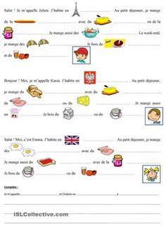 C'est une feuille d'exercice concernant le petit dejeuner. Les eleves peuvent comparer le petit dejeuner en France, en Angleterre et en Pologne avec le petit dejeuner dans leur pays. - Fiches FLE