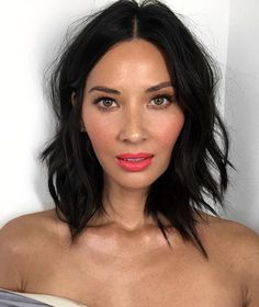 Lovely @oliviamunn For Christmas Office Party Hair By @cwoodhair Makeup By @patrickta Assisted By @lyndsayzmakeup Blush By @tomford Fantic Pink                                                                                                                                                                                                                                                                                                                                                                                                                                                                                                                                                             Pinterest