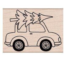 Car With Tree Christmas Tree Stamp / Hauling a by myrubberstamp, $8.00
