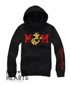 Glitter Marine Mom Hoodie