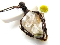 RARE Brookite jewelry, Brookite necklace, Brookite in Quartz,  crystal cluster, Quartz crystal pendant, Healing crystals , raw crystal,