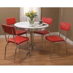 TMS Retro 5 Piece Dining Set with Red Padded Vinyl Chairs