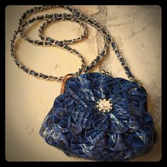 """Cross body floral bag You will love this. Silver and navy. Goes with everything. From dress to jeans. Perfect for those few necessities. Measures about 7""""x 6"""". Bags Crossbody Bags"""