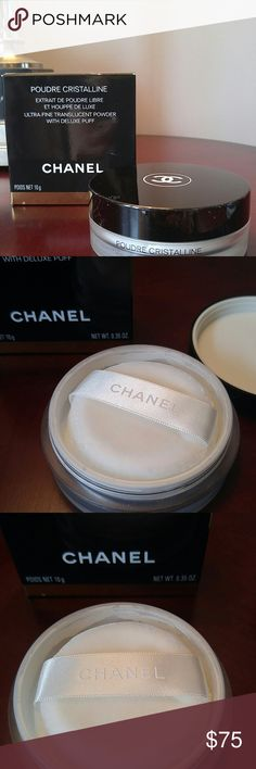 SUNDAY NIGHT SALE CHANEL POUDRE CRISTALLINE Authentic . Brand-new with new puff. CHANEL ULTRA-FINE Translucent Powder combines the most recent generations of translucent powders for an ultra-fine result, both precious and natural. POUDRE CRISTALLINE should be applied by pressing the puff against the skin, not stroking it over.  MAKEUP ARTISTS USE this CHANEL powder to set celebrity makeip, giving them a matte look before they face the camera. CHANEL Makeup