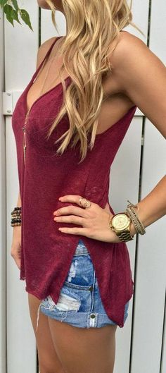 Ripped Denim Shorts Burgundy Cami Top Fall Inspo