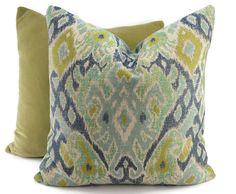 Blue Aqua & Green Ikat Pillow Cover Moroccan by ThePillowSpot