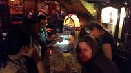 Ticket to ride by Smart phone light. We had 24 people on this day so this group ended up on tables that so well lit