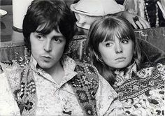 Paul McCartney and Jane Asher listening to Maharishi lecture in London, August 31, 1967