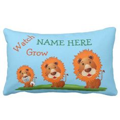 Shop Personalized Baby Pillows with Name and Monogram created by LittleLindaPinda. Personalize it with photos & text or purchase as is! Photo Pillows, Baby Pillows, Kids Pillows, Throw Pillows, Little Linda, Rock You Baby, Cute Lion, Baby Monogram, Personalized Pillows