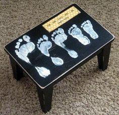 Footprint Stool Keepsake Decor Gift