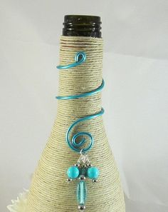 Items similar to Wine bottle Decoration. Wine Bottle Charms, Bead Bottle, Bottle Jewelry, Wine Bottle Art, Diy Bottle, Bottle Crafts, Bottles And Jars, Yarn Bottles, Recycled Wine Bottles