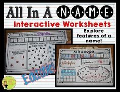 FREE!! All In A Name Interactive Worksheets to help students explore the features in a name.This freebie has differentiated, interactive worksheets. Students will explore:*  Specific letters in their own, and their friends' names. *  Distinguish between vowels & consonants.*  Count syllables in a name.*  Count the number of letters in a name.Kids can use with names from the word wall.