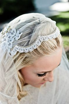 Lace Juliet Bridal Cap Wedding Veil, Alencon Lace Rhinestone Scallop, Fingertip, Waltz, Chapel, Cathedral, Style: Dolly Bridal Cap