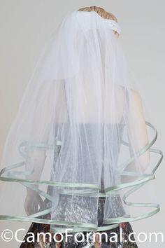 Veil, Ribon Edged, Waist Length, Sage