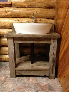 40 Creative Ideas White Rustic Bathroom Shelves 32 Rustic Reclaimed Wood Open Shelf Vanity with White Porcelain Vessel Sink Charming Open Shelf 5 Reclaimed Wood Bathroom Vanity, Barn Bathroom, Rustic Bathroom Shelves, Rustic Bathroom Vanities, Rustic Bathroom Decor, Wood Vanity, Vintage Bathrooms, Rustic Bathrooms, Bathroom Styling