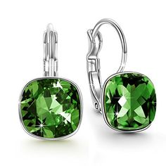 Qianse Drop Earrings Made with Emerald Green SWAROVSKI Crystal for Pierced Ears, Women Fashion Jewelry >>> Check out this great image @