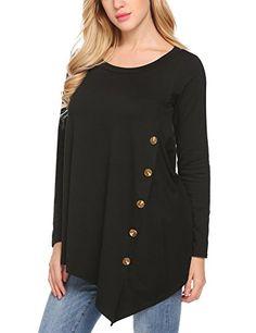 cool Finejo Women's Casual Short Sleeve Round Neck Irregular Hem Asymmetrical Loose Tunic Tops