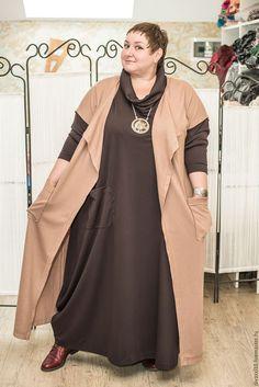 Большие размеры ручной работы. Ярмарка Мастеров - ручная работа. Купить Трикотажное платье и жилет большого размера. Handmade. Комбинированный