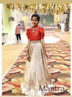 Girls Frock Design, Long Dress Design, Kids Frocks Design, Kids Gown Design, Indian Fashion Dresses, Indian Gowns Dresses, Dress Indian Style, Indian Dresses For Kids, Half Saree Designs