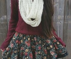 burgundy top, cream scarf, floral skirt/dress
