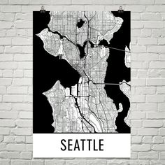 Seattle Map Art Print, Seattle WA Art Poster, Seattle Wall Art, Seattle Gift, Birthday, Decor, Modern, Art
