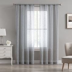 Beatrice Cleo Sheer Textured Window Curtains Rod Pocket Drapes, Grey – Window Treatments – Home & Kitchen Window Curtain Rods, Window Panels, Window Curtains, Grey Curtains, Grey Windows, Curtain Length, Types Of Curtains, Kitchen Window Treatments