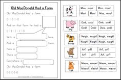 Old MacDonald Had a Farm Printable Activities | A to Z Teacher Stuff Printable Pages and Worksheets